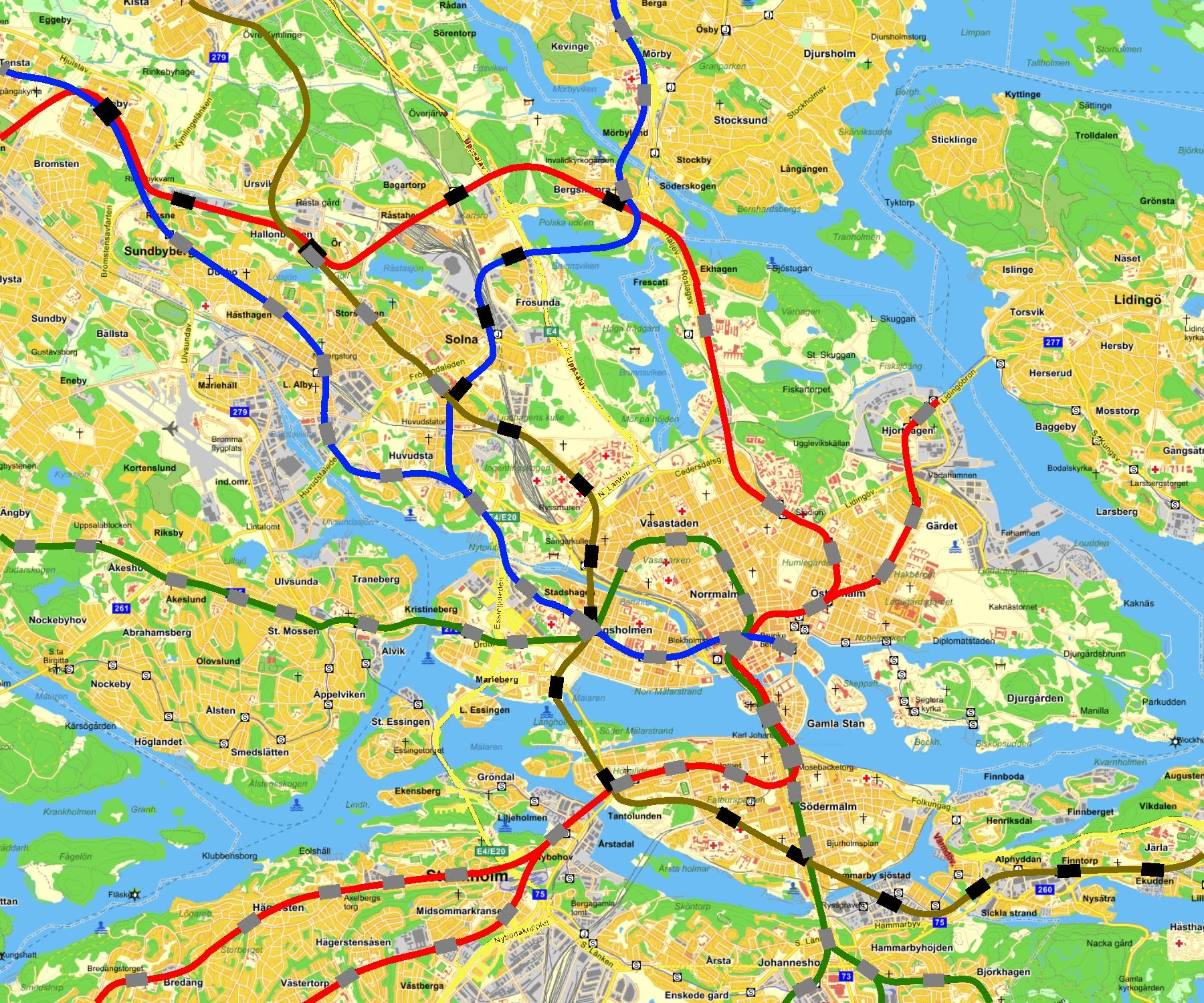 röda linjen tunnelbana karta T bana tll Nacka utan att passera Centralen plus förlängning  röda linjen tunnelbana karta